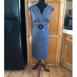 NWT Dressbarn Charcoal Grey Buckle Accent Dress